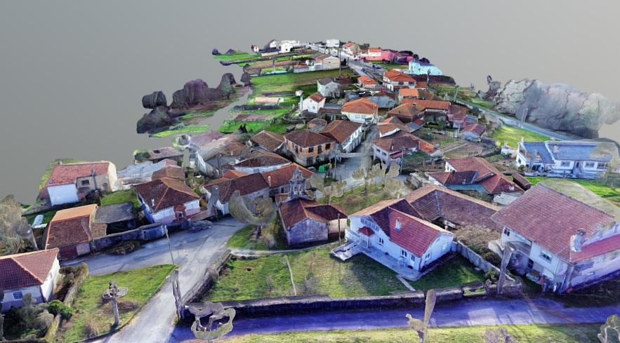 Modelo 3D y escaneado núcleo rural para estudio urbanístico